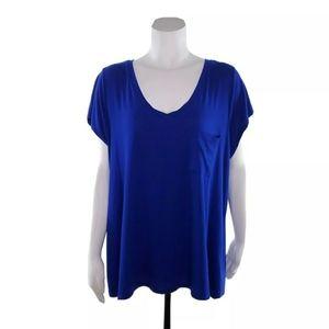 Cable & Gauge 1X Blue Short Sleeve Shirt NWT